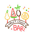sweet candy bar logo colorful hand drawn label vector image vector image