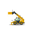 yellow telehandler isolated on white background vector image vector image