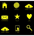 Yellow Web icons on the black vector image