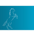 white silhouette of horse on the blue background vector image