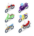 isometric motorcycle set with motocross vector image