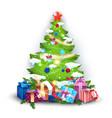 christmas tree decoration colorful balls garland vector image