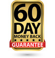 60 day money back guarantee golden sign vector image vector image
