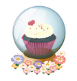 A crystal ball with a mouthwatering cupcake vector image