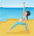 A girl doing her exercise at the seashore vector image vector image