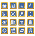 auto repair icons set blue square vector image vector image