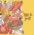 barbecue and grill hand drawn design with meat vector image vector image
