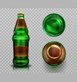 beer bottle top and bottom view alcohol drink vector image vector image