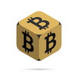 bitcoin golden bitcoin cube vector image