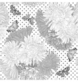 black and white seamless background with flowers vector image vector image