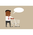 Black businessman with cart and speech bubble vector image vector image