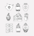 business and financial set icons vector image vector image