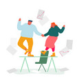 business colleagues dancing on table rejoice for vector image