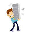 businessman carrying pile of papper work vector image vector image