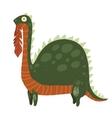 Cartoon Dinosaur Eating Leaves Mascot icon vector image
