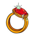 cartoon image of diamond ring vector image vector image