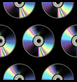 cd disk seamless pattern on black background vector image