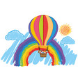 children riding on big balloon in sky vector image
