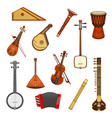 classic and ethnic music instrument icon set vector image vector image