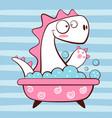 cute dino wash in bathroom vector image vector image