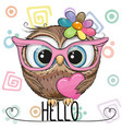 cute owl in a pink glasses with heart vector image vector image