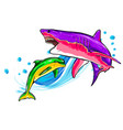 dolphin who is jumping out sea water on vector image vector image