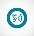 ear icon bold blue circle border vector image vector image