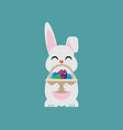 easter egg bunny holding a basket vector image vector image