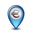 euro currency symbol mapping marker icon vector image