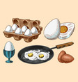 frying pan with fried eggs and scrambled omelette vector image vector image