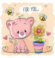 greeting card cute cartoon kitten with flower vector image vector image