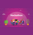hackathon technology concept with team working vector image