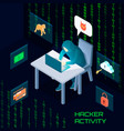 hacker activity isometric composition vector image vector image