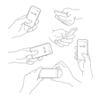 Hand holding smartphone vector image vector image