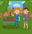 happy friends having outdoor barbecue men cooking vector image vector image