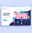 landing page template ui usability testing concept vector image vector image