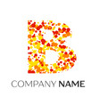 letter b logo with orange yellow red particles vector image vector image