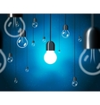 light bulbs on blue background horizontally vector image
