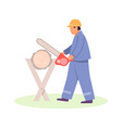 lumberjack worker with chainsaw in protective vector image
