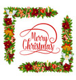 merry christmas holly wreath decoration vector image