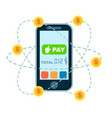 mobile money transfer concept in flat design vector image