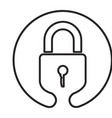 monochrome circular emblem silhouette of padlock vector image vector image