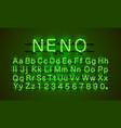 neon font city neon green font lamp green font vector image
