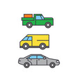 pickup car line icon concept pickup car flat vector image vector image