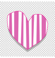 pink heart sticker with striped pattern isolated vector image