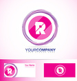 Pink letter R circle logo vector image vector image