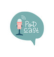 podcast lettering icon with handwritten text vector image vector image