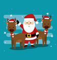 santa claus and deers with hat and scarf vector image vector image