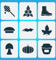 season icons set with boot apple pie pumpkin and vector image vector image