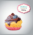 Set of delicious cupcake with different toppings vector image
